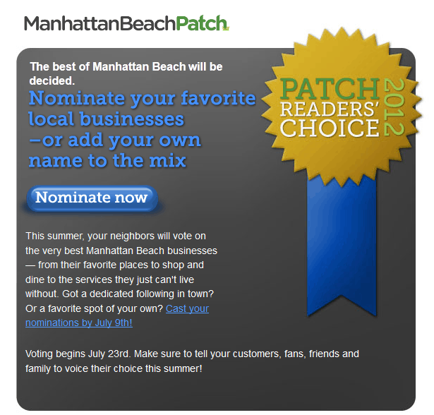 Manhattan Beach Patch - Call for Nominations