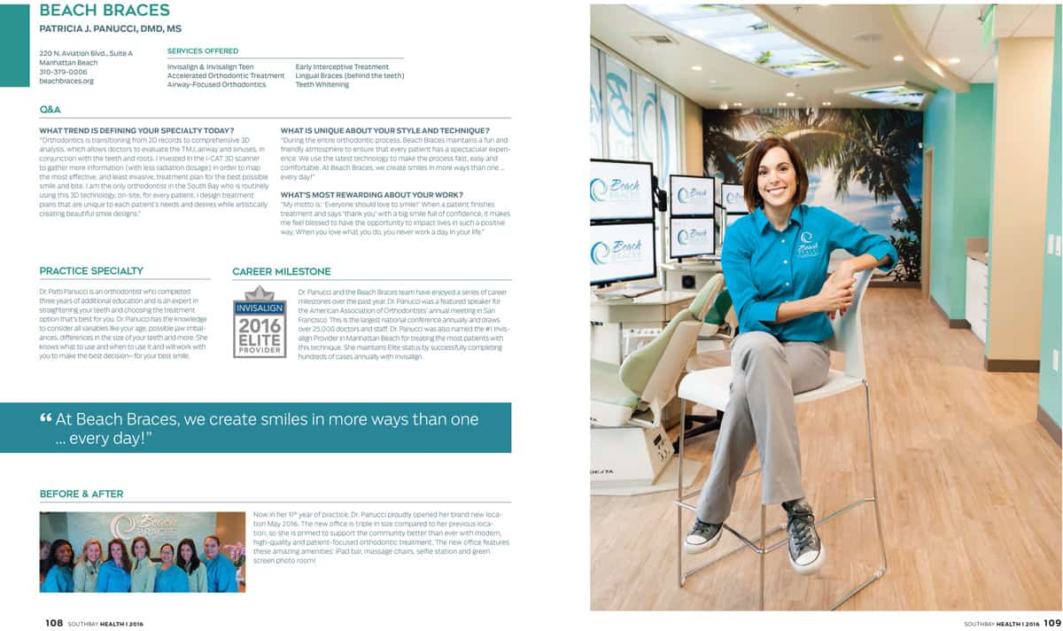 dr panucci - beach braces orthodontist - magazine article